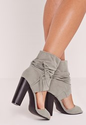 Missguided Block Heel Ankle Cuff Sandals Grey Grey