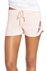 Junk Food Feather Print Lounge Short Pink
