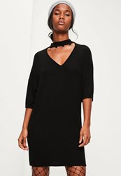 Missguided Black Oversized Ring Detail Dress