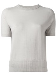 Rick Owens Short Sleeve Knitted Top Grey