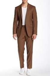 Kenneth Cole Two Button Notch Lapel Wool Suit Brown