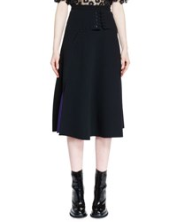 Carven Felted Laced Midi Skirt Noir