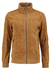 Superdry Hutch Leather Jacket Camel