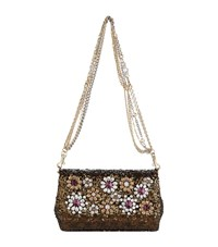 Dolce And Gabbana Crystal Embellished Anna Sequin Shoulder Bag Female Black