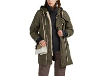 08Sircus Faux Fur Lined Cotton Military Coat Beige Khaki