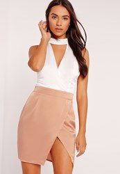 Missguided Silky Choker Wrap Skirt Shift Dress Rose Gold White