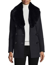 Burberry Marfield Wool Blend Coat W Detachable Fur Collar Black