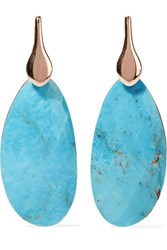 Monica Vinader Nura Rose Gold Vermeil Turquoise Earrings One Size