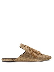 Sanayi 313 Ragno Embroidered Faille Slipper Shoes Gold