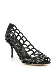 Sergio Rossi Crystal And Suede Scalloped Peep Toe Pumps Black