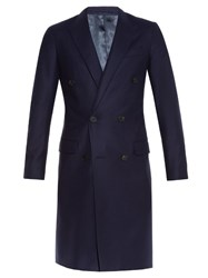 Lanvin Peak Lapel Double Breasted Coat Navy