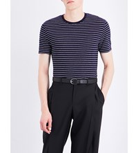 Sandro Striped Linen T Shirt Navy Blue