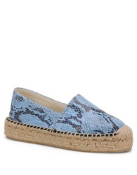 Carmen Marc Valvo Bristol Embossed Faux Leather Slip On Espadrilles Sneakers Blue