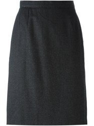 Yves Saint Laurent Vintage Straight Midi Skirt Grey