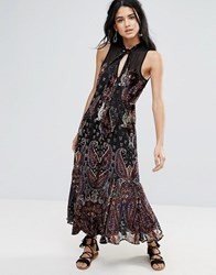 Free People Hands To Hold Front Slit Maxi Dress Black Combo