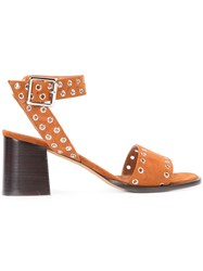 Derek Lam Eyelets Buckled Sandals Women Leather Suede 37.5 Brown