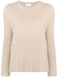 Allude Ribbed Knit Top Nude And Neutrals