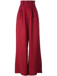 Joseph High Waisted Palazzo Pants Red