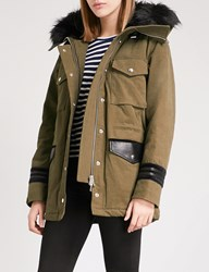 The Kooples Faux Fur Hood Stretch Cotton And Leather Parka Coat Kak01