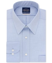 Eagle Men's Classic Fit Stretch Collar Non Iron Solid Dress Shirt Blue