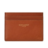Saint Laurent Smooth Leather Card Holder Brown