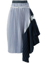 Sacai Asymmetric Pleated Skirt Blue