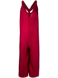 Mes Demoiselles V Neck Jumpsuit Women Silk 36 Red
