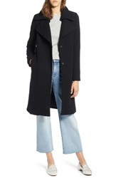 Halogen Double Fold Collar Wool Blend Coat Black