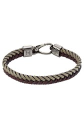 Tod's Tods Braided Leather Bracelet Brown