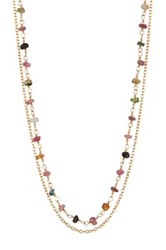 Argentovivo 18K Yellow Gold Plated Sterling Silver Tourmaline Bead Double Layer Chain Necklace Metallic