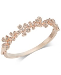 Charter Club Rose Gold Tone Crystal Flower Bangle Bracelet Created For Macy's