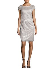 Adrianna Papell Feather Sequined Sheath Dress Silver