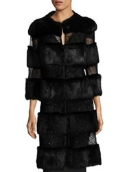 Alberto Makali Rabbit Fur Sequin Long Coat Black