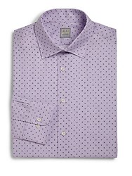 Ike Behar Regular Fit Lion Textured Dress Shirt Royal Plum