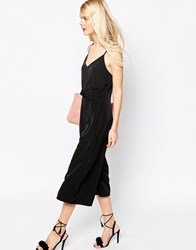 Asos Jumpsuit With Cami Straps And Culotte Leg Black