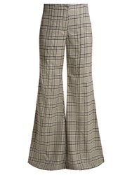 Zimmermann Rife Checked Kick Flare Wool Trousers Grey