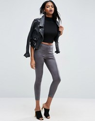 Asos Cracked Leather Look Leggings Grey