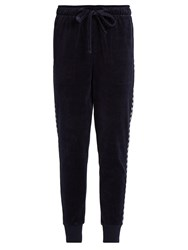 The Upside Jackie Slim Leg Velour Performance Track Pants Navy