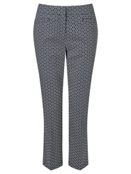 Gardeur Dyan Cropped Printed Slim Trousers Navy White