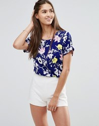 Darling Floral Boxy Top Lime Navy