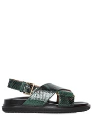 Marni 20Mm Crisscross Leather Flat Sandals Green