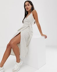 Bershka Wrap Dress In Ecru White