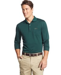 Greg Norman For Tasso Elba 5 Iron Long Sleeve Performance Golf Polo Only At Macy's Hunter Forest