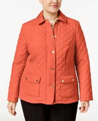 Charter Club Plus Size Quilted Coat Only At Macy's New Coral