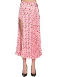 Vetements Pleated Jersey Midi Skirt W Side Cut Out Pink