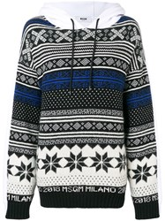 Msgm Patterned Hooded Sweatshirt White