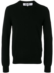 Comme Des Garcons Play Embroidered Heart Patch Sweatshirt Black