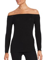 Highline Collective Ribbed Jersey Knit Long Sleeve Off The Shoulder Top Black