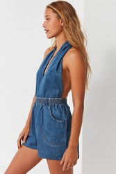 Urban Renewal Remade Halter Denim Romper Indigo