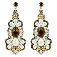 Claudia Baldazzi Jewels Pearl And Dorado Earrings Gold White Brown